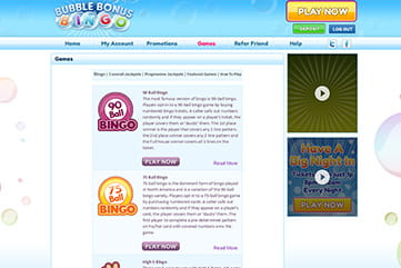 Options for bingo lovers on Bubble Bonus Bingo