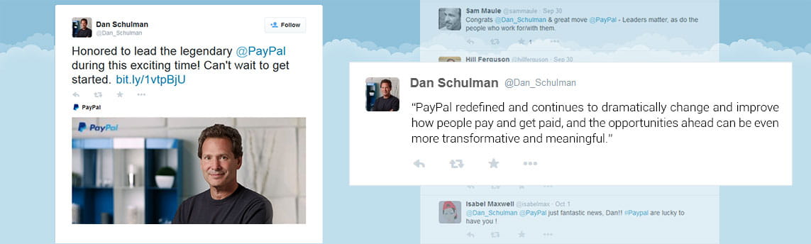 Dan Schulman's Tweet about his New Role at PayPal