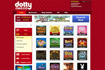 Long list of other games on Dotty Bingo