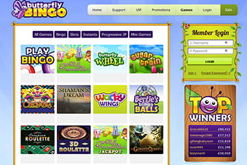Plenty of slots and instants to choose from on Butterfly Bingo
