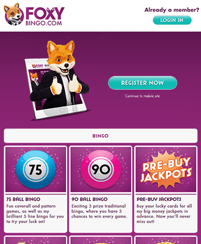 Foxy bingo your mobile
