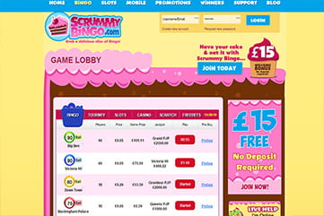 A huge list of bingo rooms on Scrummy Bingo