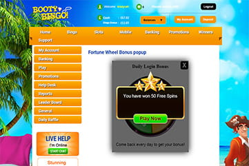 Plenty of bonuses and promos daily at Booty Bingo