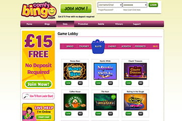 A huge selection of slots for every taste at Comfy Bingo