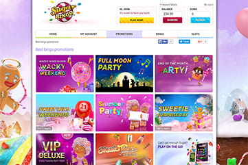 Tons of promotions, bonuses and freebies from Sugar Bingo.