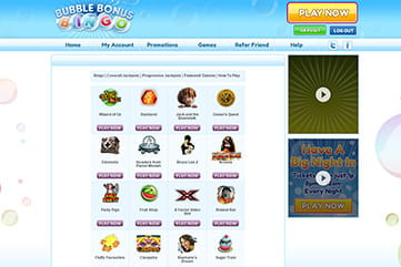 Slots, jackpots and other games on Bubble