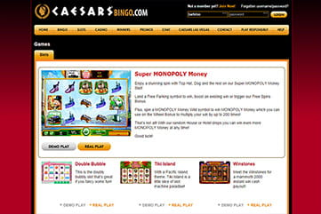 Slots selection and other games on Caesars