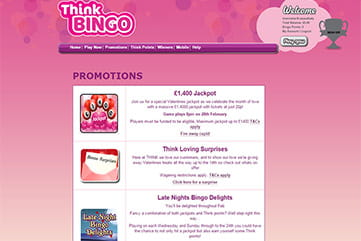 A long list of specials on Think Bingo.