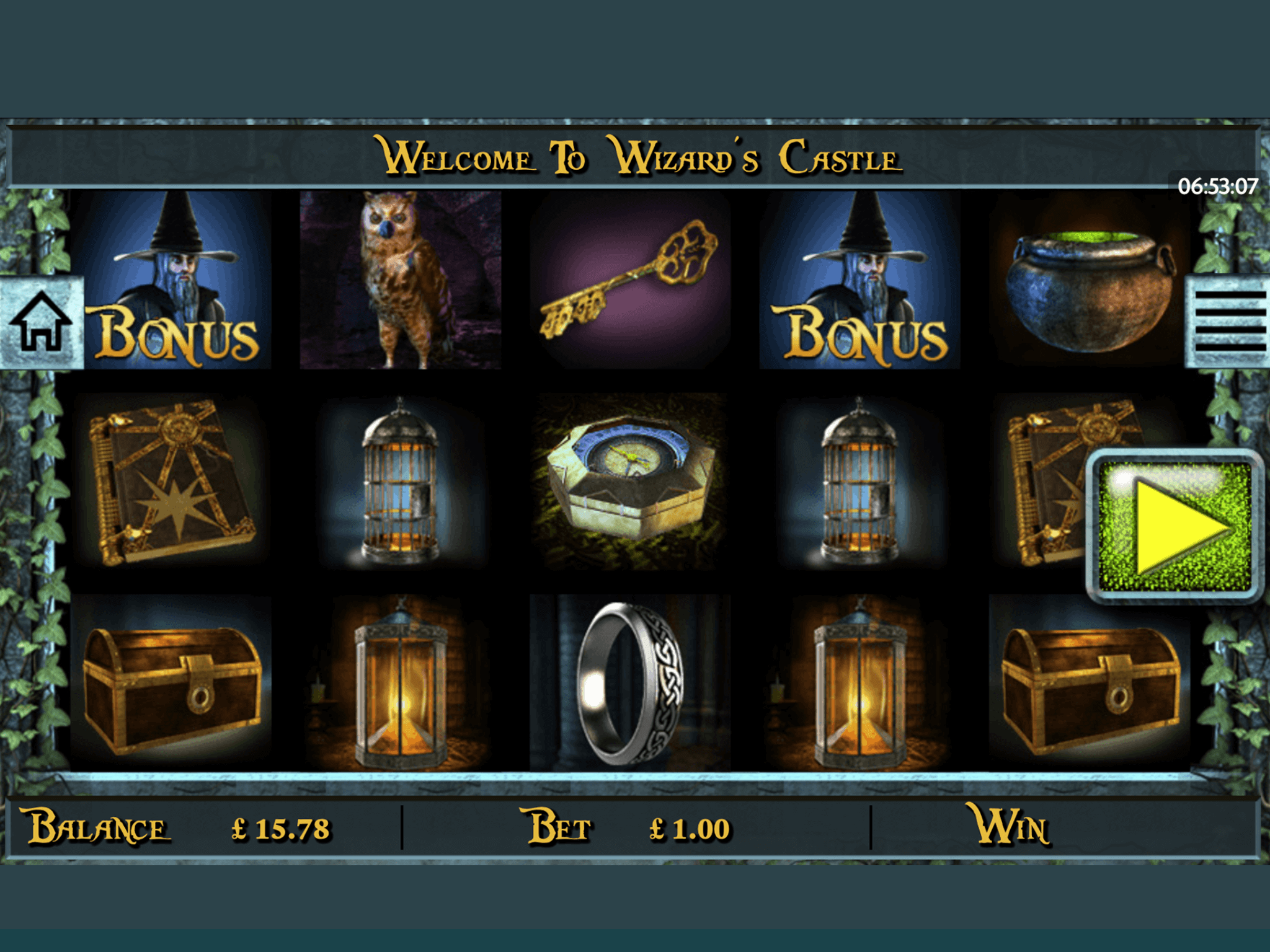 Wizzard's Castle Mobile Slot at Landmark